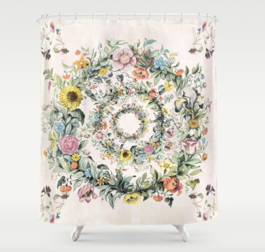 watercolor design flowers spring bath shower curtain