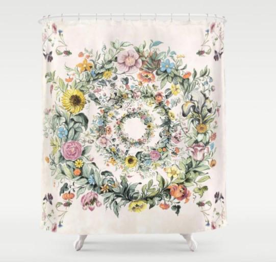 watercolor design flowers spring bath shower curtain