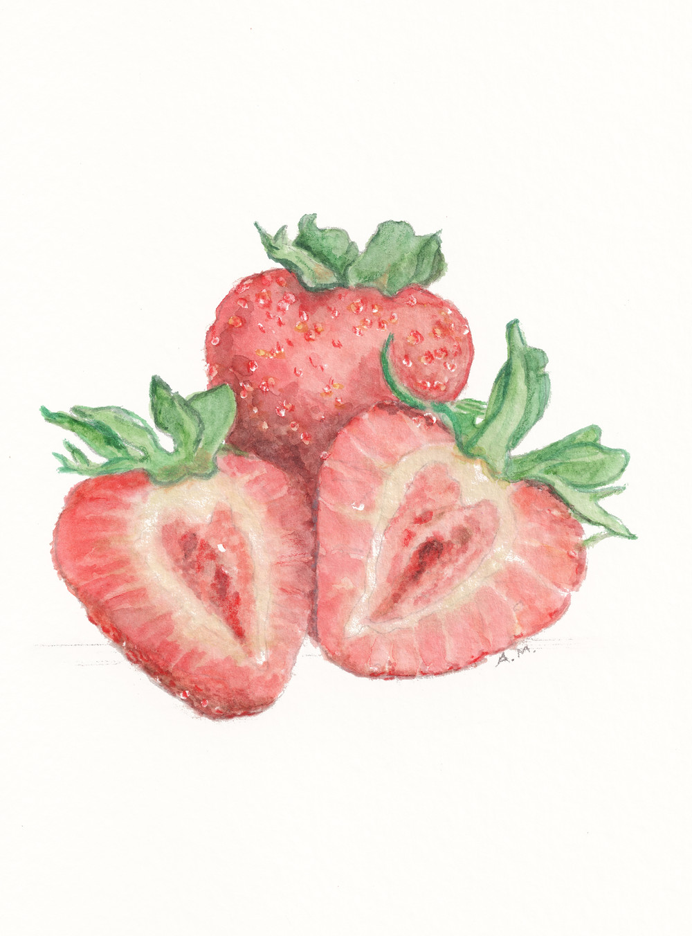 strawberries fruit food watercolor painting