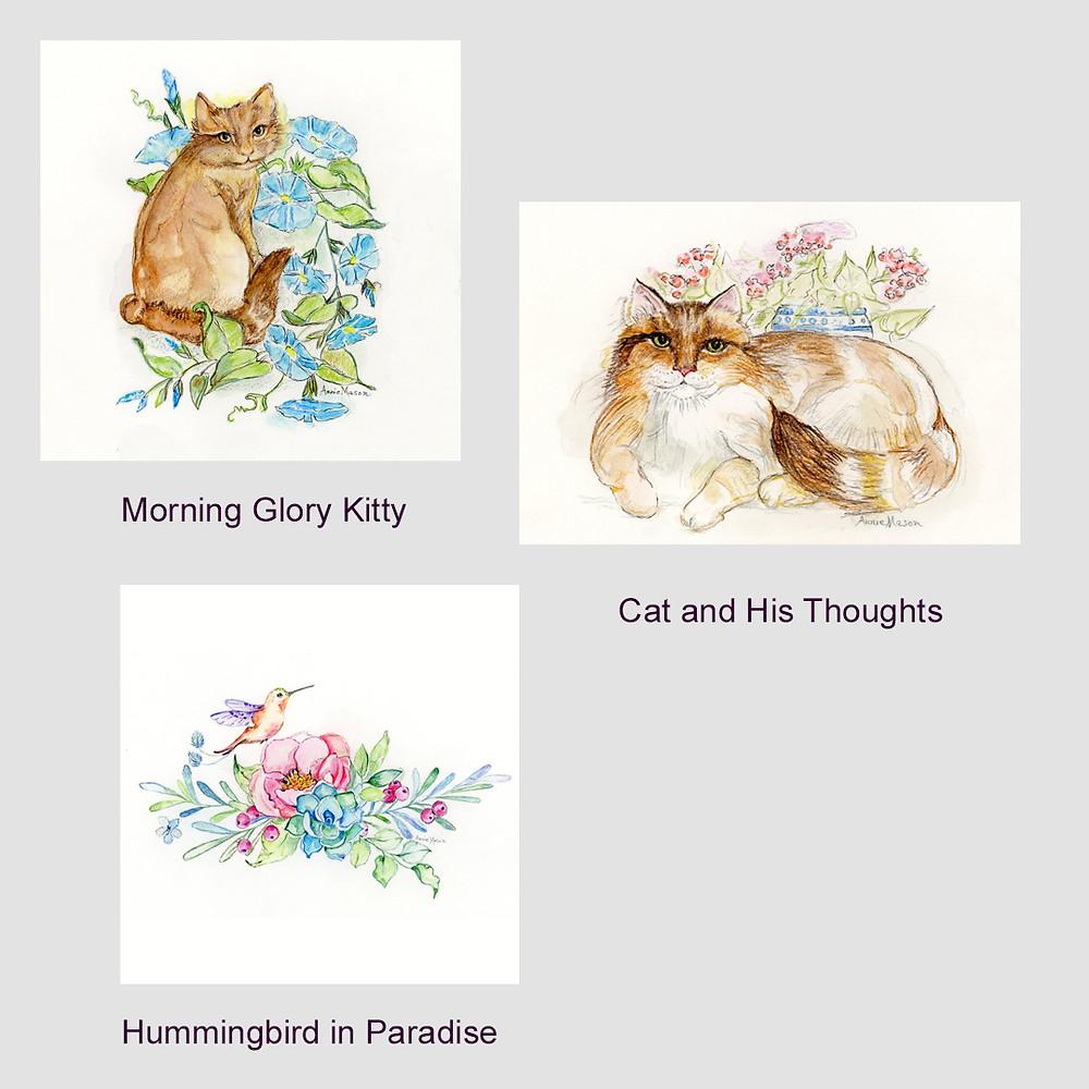 #cat #animal #feline #bird #hummingbird #flowers