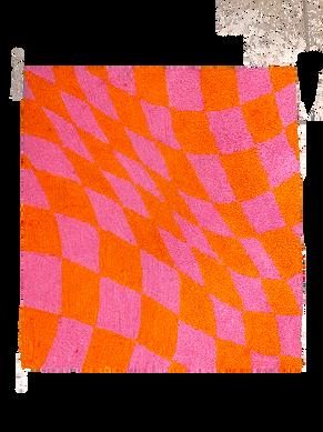 pink & orange checkered rug