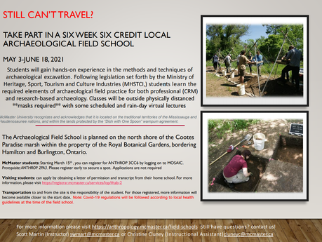 Archaeology Field School Opportunity!