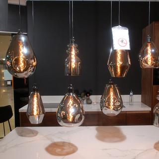 8 lichts hanglamp glas Falling rain drops