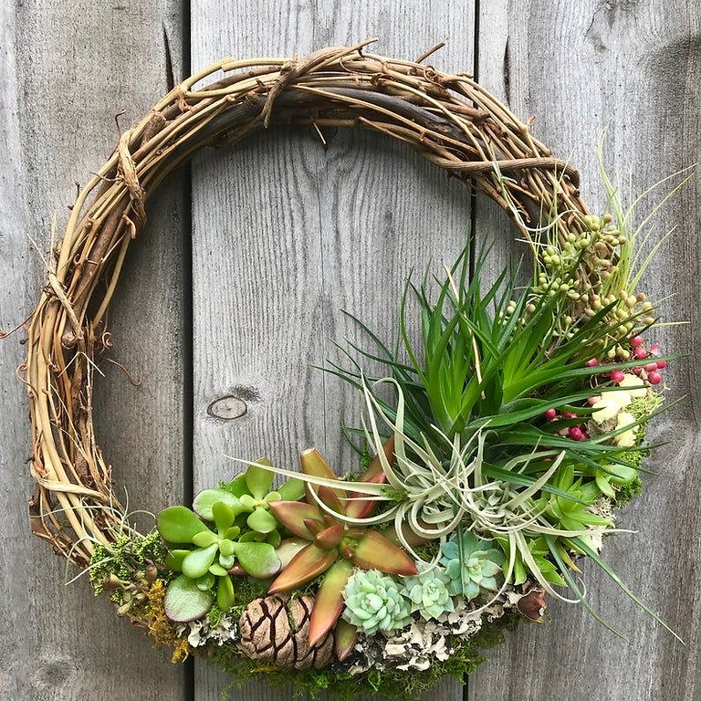 Air Plant and succulent wreath at Altamont Vineyard