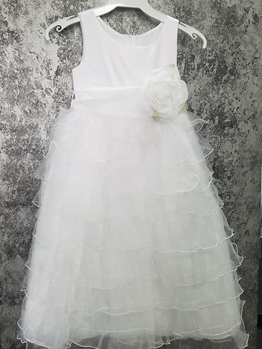 0611 Satin Ruffled layered flowergirl dress