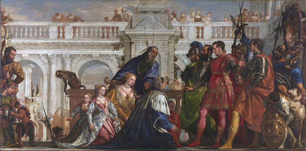 """Family of persian king Darius before Alexander The Great and his friend Hephaestion after the Battle of Issus.  When Alexander the Great and Hephaestion (his closest friend) went together to visit the captured Persian royal family, Sisygambis knelt to Hephaestion to plead for their lives, mistaking him for Alexander — Hephaestion was the taller, and both young men were similarly dressed. When she realized her mistake, she was acutely embarrassed, but Alexander reassured her with the words, """"You were not mistaken, Mother; this man too is Alexander."""