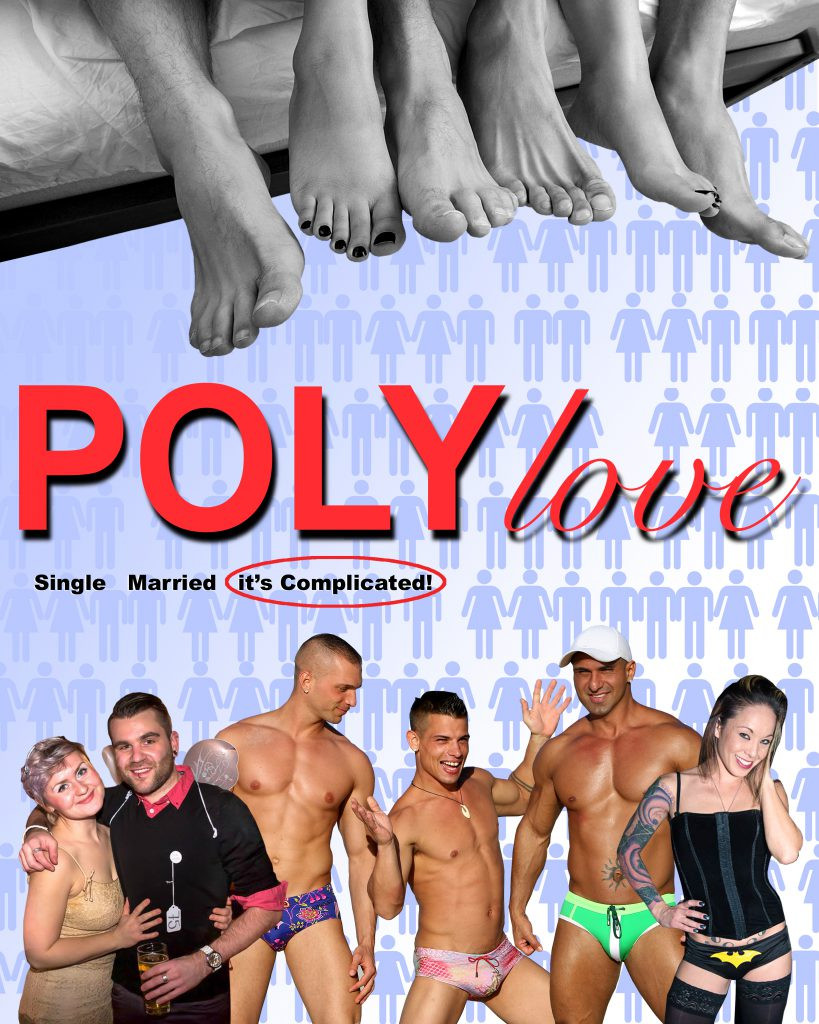 Men and women in relationship groupings.  Three sets of feet stick out from the end of a bed depicting polyamory.