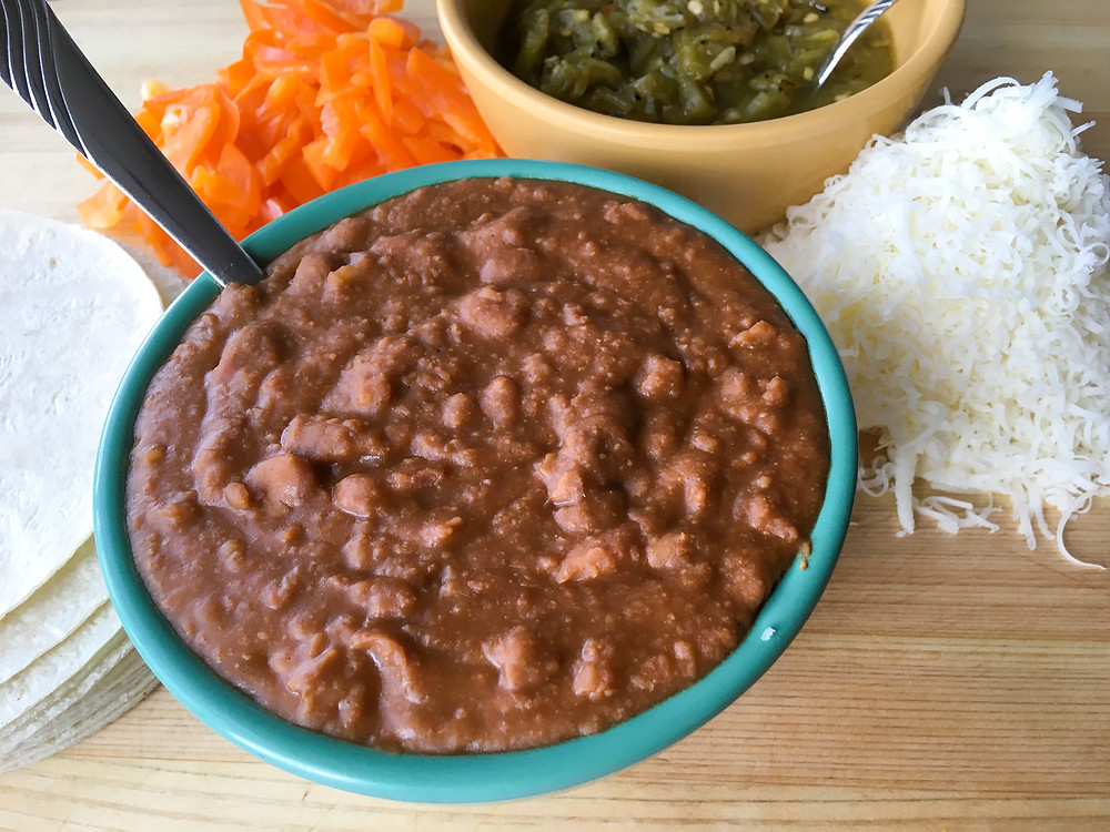 Refried beans, Beans, Pinto Beans, Salsa, Tortillas, Cheese, Instant Pot Recipes, Bell Peppers, Dairy Free Recipes, Gluten Free Recipes, Fat Free Recipes, Preservative Free Recipes, Easy Recipes, Healthy Food