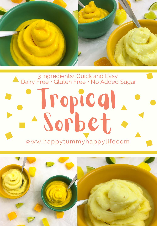 Mango, Pineapple, Sorbet, Tropical Fruit, Gluten Free, Vegan, Dairy Free, Quick and Easy, Quick Desserts, Easy Desserts, Healthy Desserts, Frozen treats, Lime, Coconut Milk