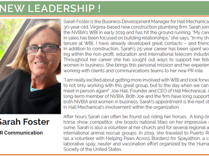 NVBIA Welcomes Hall Mechanical's Sarah Foster as PR & Communication Committee Chair