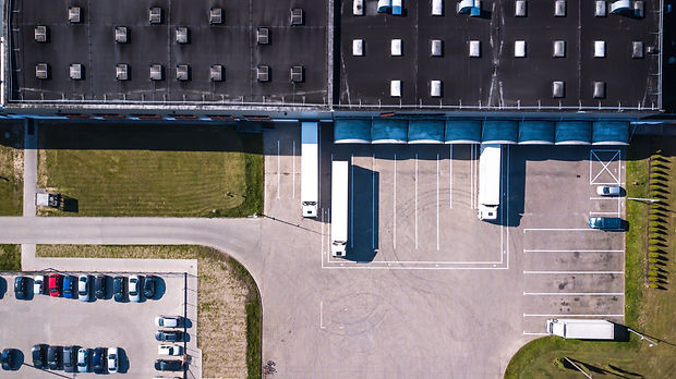 Aerial view of goods warehouse. Logistic