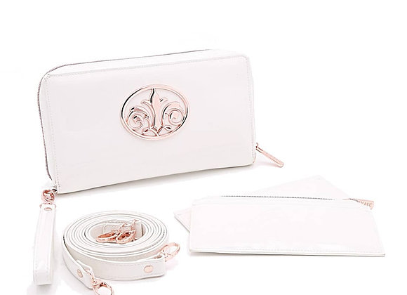 TYME Notoriously White Patent Leather Clutch