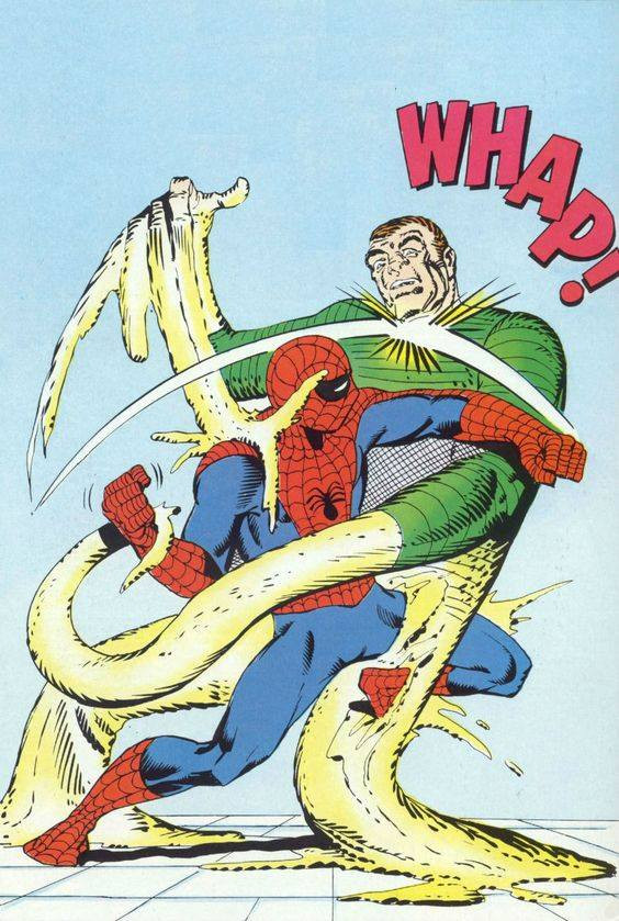 Spider-Man vs The Sandman - Ditko always pushed the limits of what he could make his figures do. The Sandman is one of his greatest creations. From The Amazing Spider-Man Annual #1 (1964).
