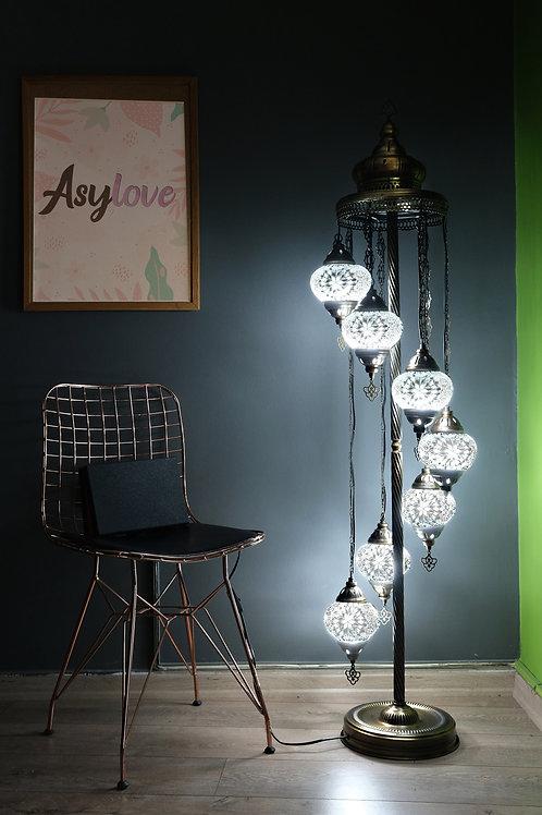 Turkish Mosaic Floor Lamp, 7 Globe Mosaic Lamp Set, Turkish Floor Lamp Kopyası