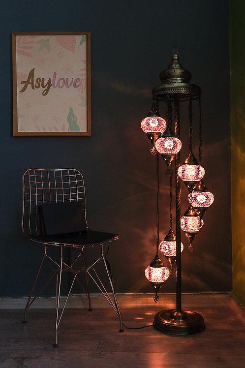 Turkish Mosaic Floor Lamp, 7 Globe Mosaic Lamp Set, Turkish Floor Lamp