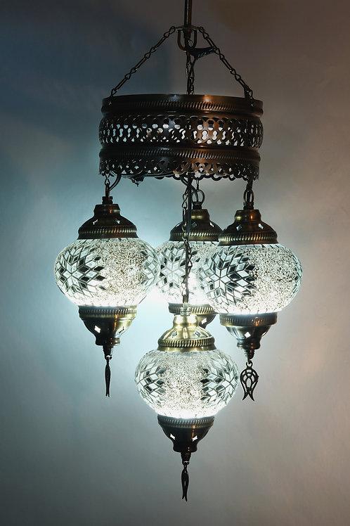 Turkish Chandelier, Turkish Lamp, 4 Globe Mosaic Pendant Lamp, Turkish Ceiling