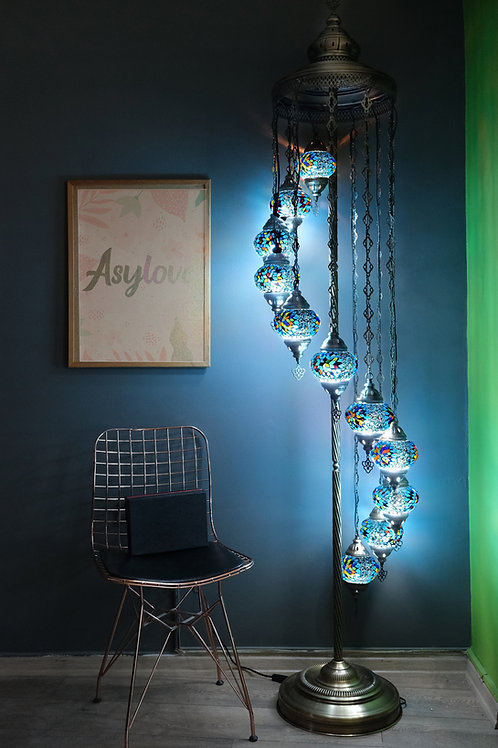 Turkish Lamp, Mosaic Floor lamp, 11 Globe Mosaic Lamp