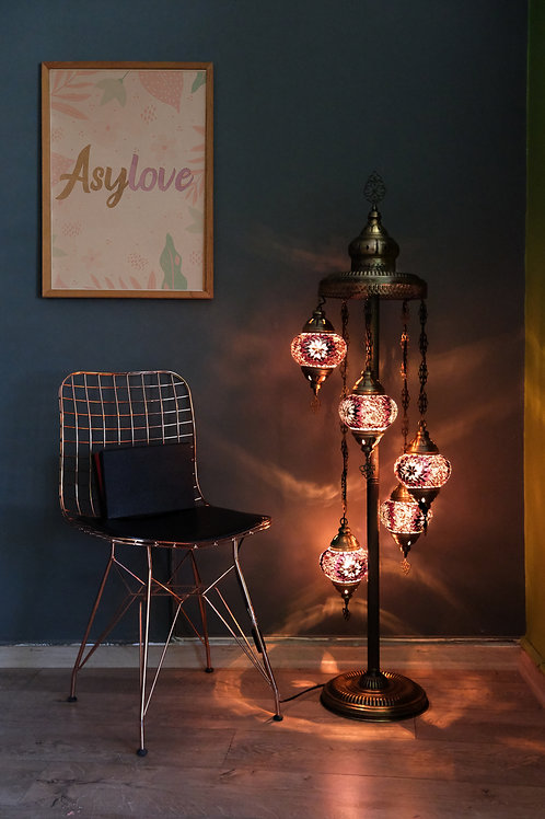 5 Globe Chandelier Turkish Mosaic Ceiling Pendant Lamp Moroccan Hanging Light