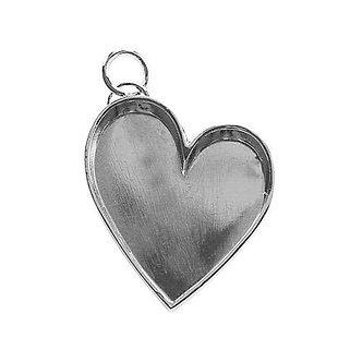 Leaning Heart - Silver