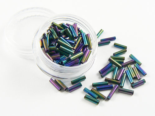 Black Rainbow iridescent glass tube beads - small container
