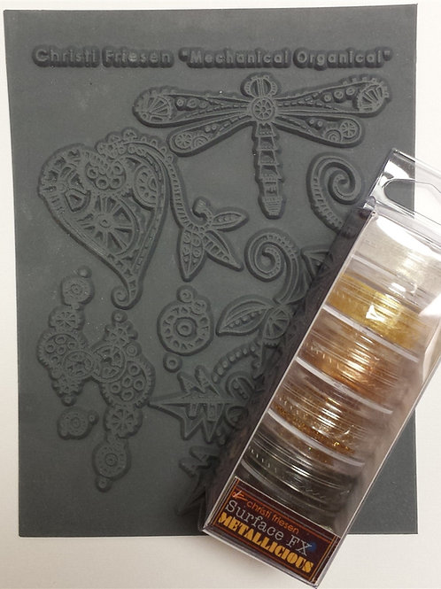 "Mechanical Metalicious"" Stamp & Powder Bundle (2 Pieces)"