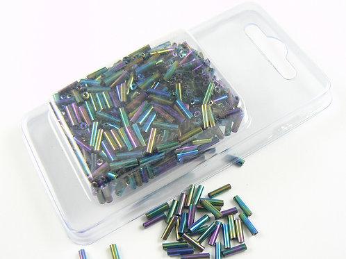 Black Rainbow iridescent glass tube beads - large size
