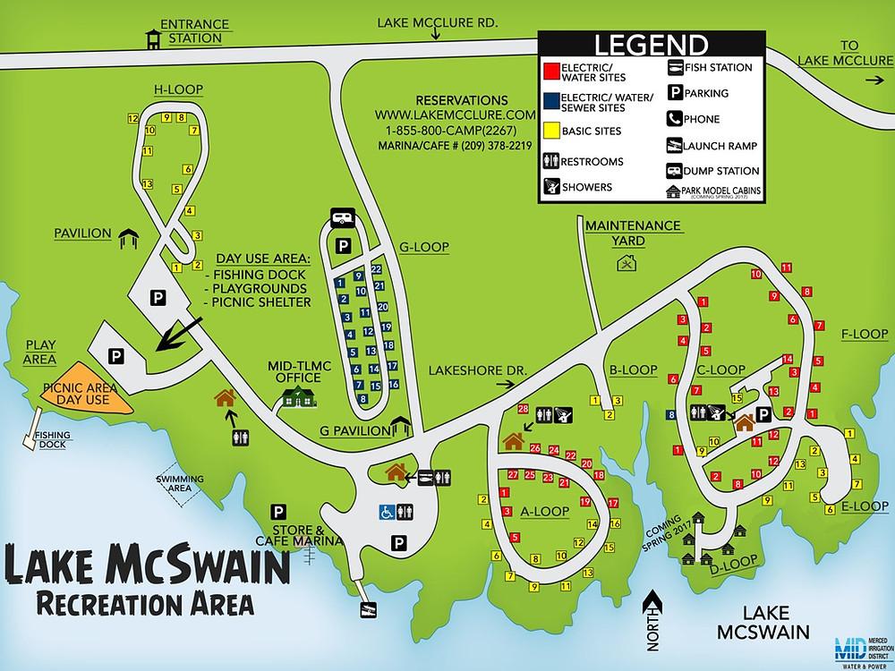 Lake McSwain Campground Map