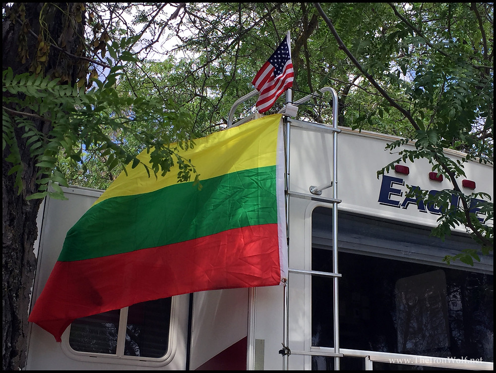 Camping at Lake McSwain/ Lithuanian Flag