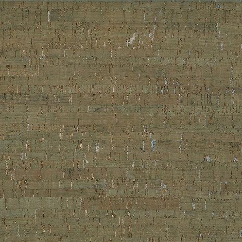 Cork Fabric - Green/Silver