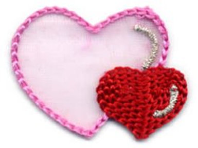 Embroidered Iron-on Applique Hearts