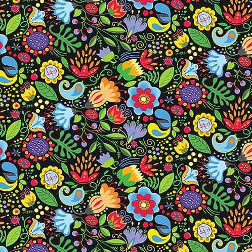 Awaken the Day - Floral Black
