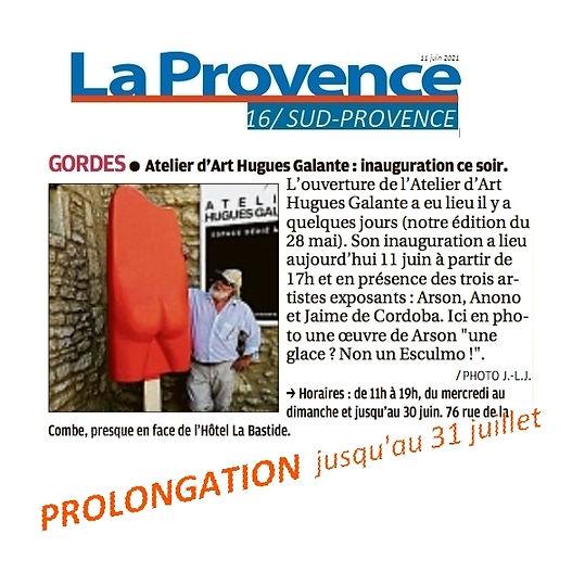 VERNISSAGE Atelier Galante La PROVENCE P