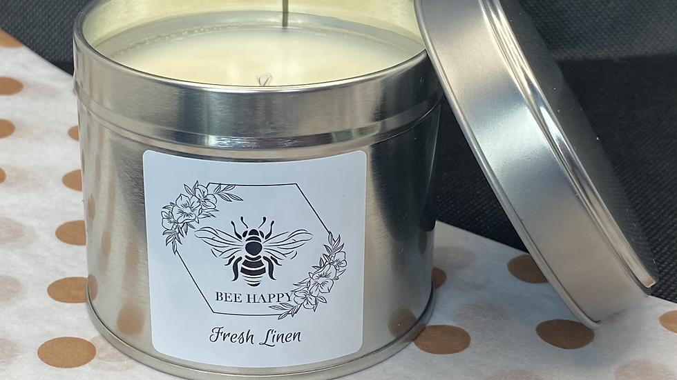 Fresh Linen hand poured tinned candle
