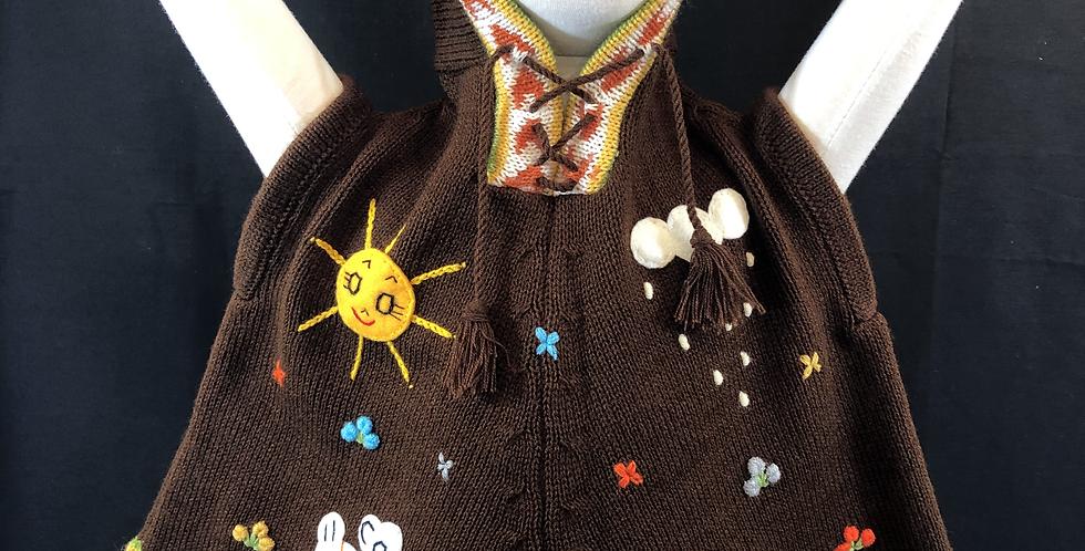 Children's Hooded Peruvian Hand-appliquéd Poncho