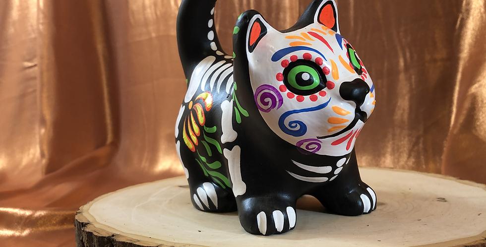 Hand-painted Cat Skeleton Ceramic