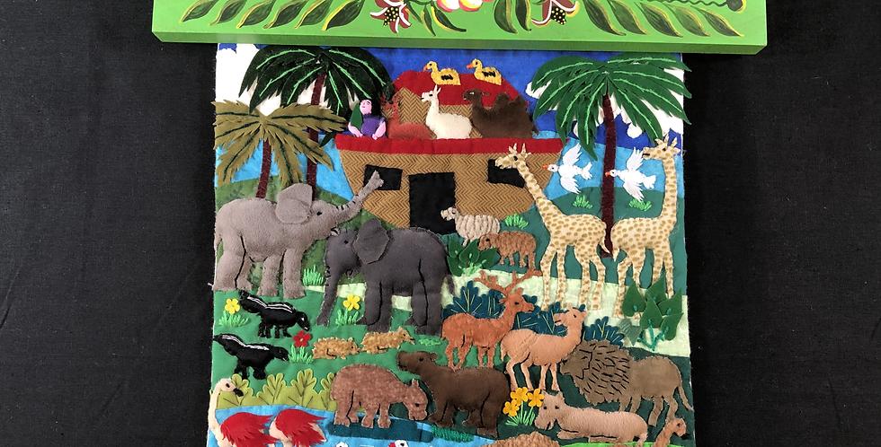 Hand-sewn Peruvian Tapestry Noah's Ark