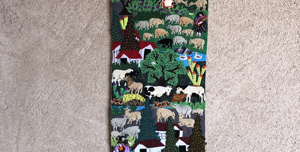 "Long Hand-sewn Peruvian Tapestry ""Cierra"""