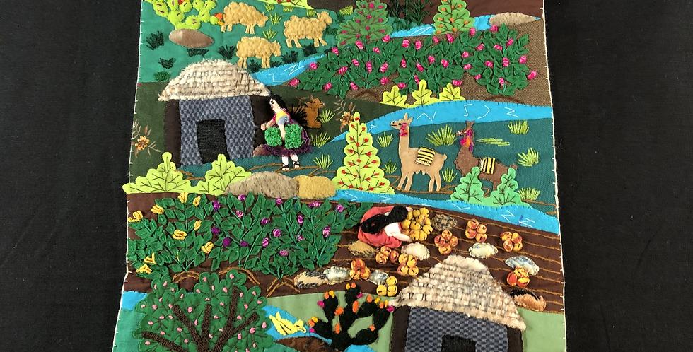 "Hand-sewn Peruvian Tapestry ""Cierra"" or ""Vista"""