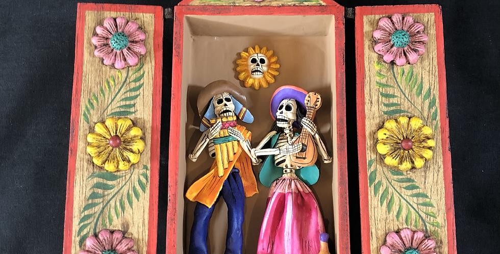 Peruvian Retablo de Musicial Skeleton Pair