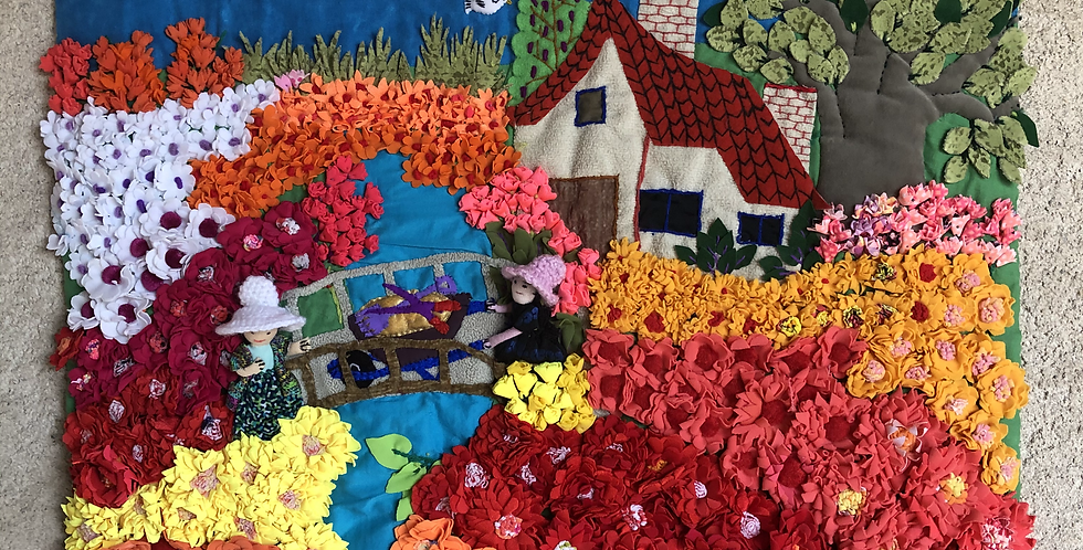 Hand-sewn Peruvian Tapestry: Campo de Flores /Flower Field