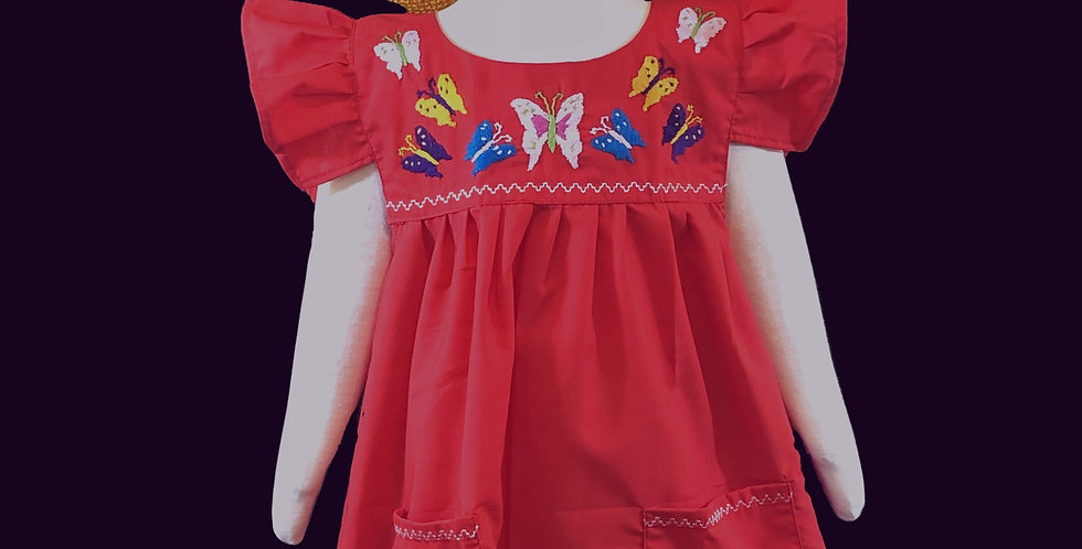 Children's Hand-embroidered Butterfly Dress