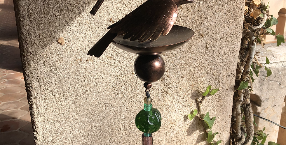 Metal Large Bird Wind-chime with Chunky Glass Beads