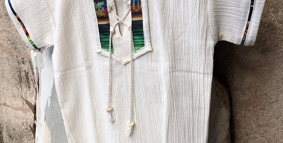 Children's Drawstring Shirt with Hand-woven Detail