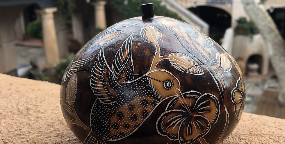 Peruvian Gourd Art with carved Hummingbirds & Detailed Leaves