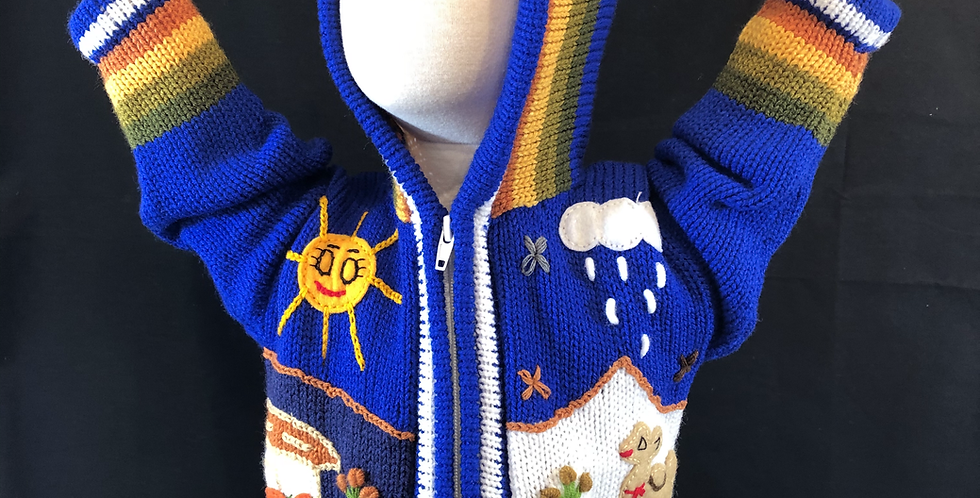 Children's Hooded Zip-up Peruvian Hand-appliquéd Sweater