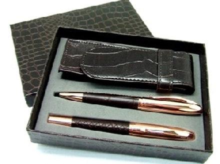 00248     Lapicera  y bolígrafo cobre/cuero