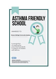 DACA recognised as an Asthma friendly School!