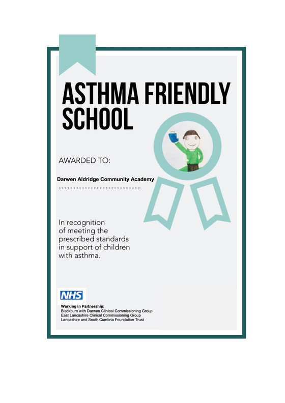DACA recognised as an Asthma friendly School!