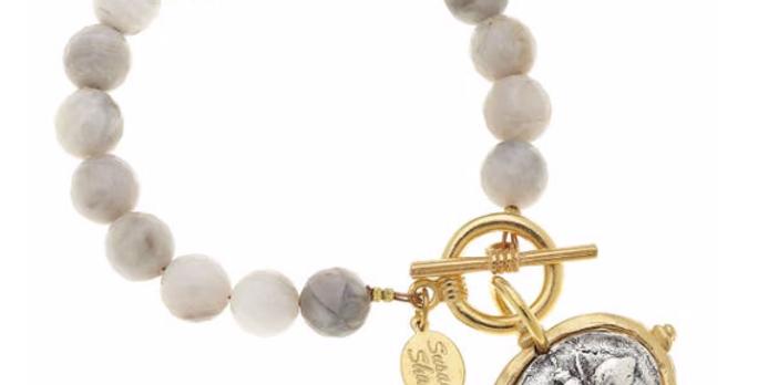 Silver Lace Agate Metal Bee Bracelet