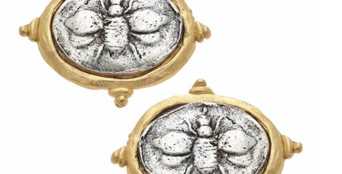 Gold & Silver Bee Stud Earrings